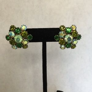 Vintage Sparkly Green Hues Clip On Earrings